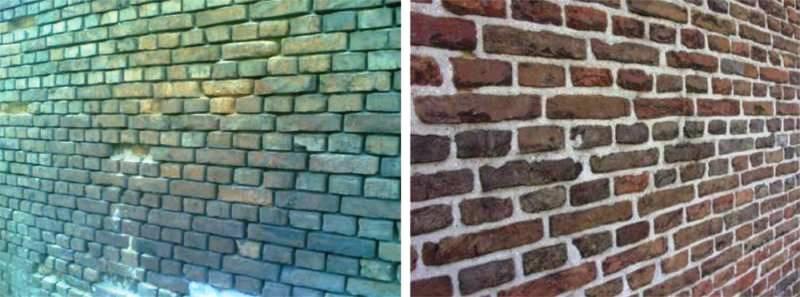 mur przed i po spoinowaniu